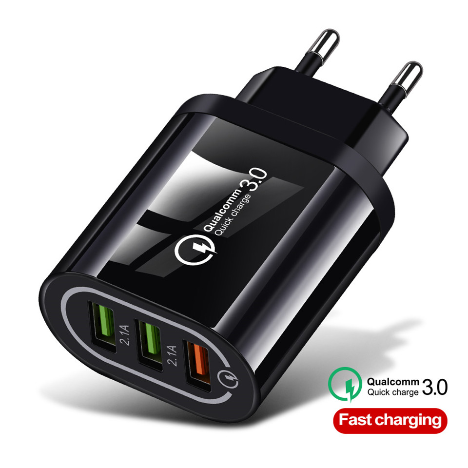 Good 3 Port USB Charger Quick Charge 3.0 for IPhone X 7 Samsung Huawei P30 Xiaomi 5V 3A EU US Plug Mobile Phone Charging Adapter