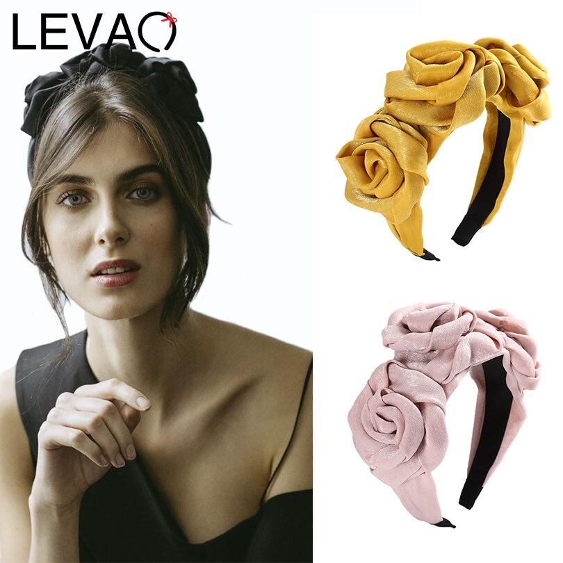 LEVAO Elegant Satin Headband Bezel Turban Hairband Girls Knot Hair Circle Bow Hair Accessories   Headwear   Bohemia Women Fashion