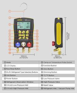 Image 5 - AUTOOL LM120 + klima manifoldu dijital vakum ölçer soğutma HVAC vakum basınç sıcaklık test cihazı PK Testo