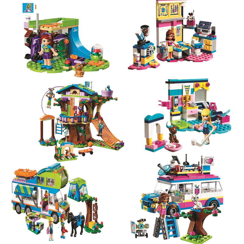 Friends Series Heart Lake City Girls Club Street Building Blocks Pink Cake Cafe Blue Camper Compatible Legoinglys Friends Toys