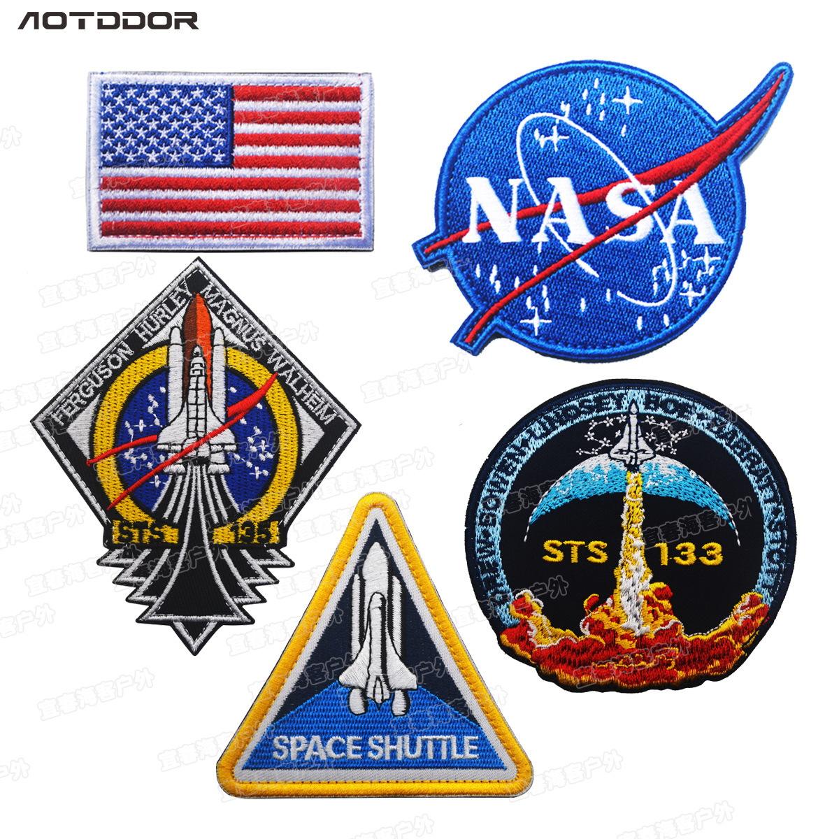 America Aviation Space Agency Nasa Badge Space Discovery Five-Piece MA1 Cotton-padded Clothes Embroidered Armband Cloth Label