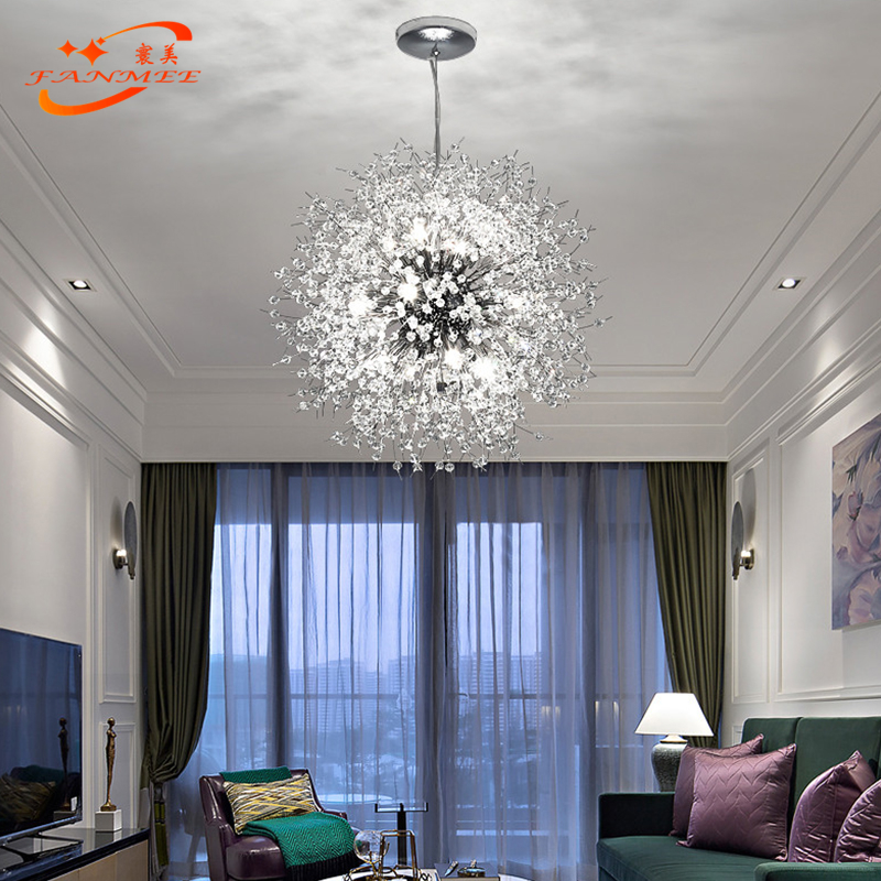 H36b7d473c84340ad8e0d72b955526982J Modern LED Crystal Chandelier Light Pendant Hanging Lamp Dandelion Cristal Chandelier Lighting for Living Dining Room Decoration