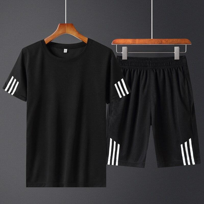 Men's Wear T-shirt Printed Set Summer New Style Sports Men's Short Sleeve Shorts Set Male Student's Sports Short Sleeve Set
