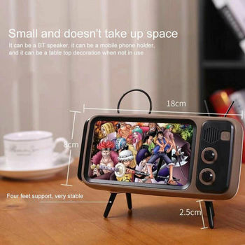 Mini Portable Retro BT Bluetooth Speaker Music TV Design Mobile Phone Holder Speaker Stereo Outdoor Sound 1