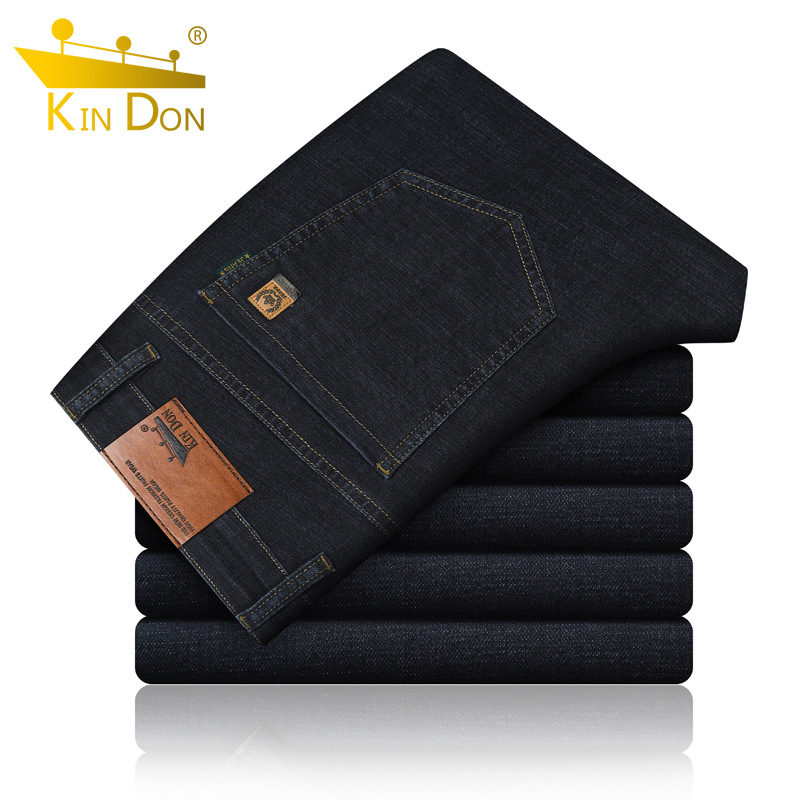 Kin Don/kin Don Genuine Product Autumn And Winter Thick Section MEN'S Jeans Loose Straight Cowboy Long Pants Medium Waist Men's