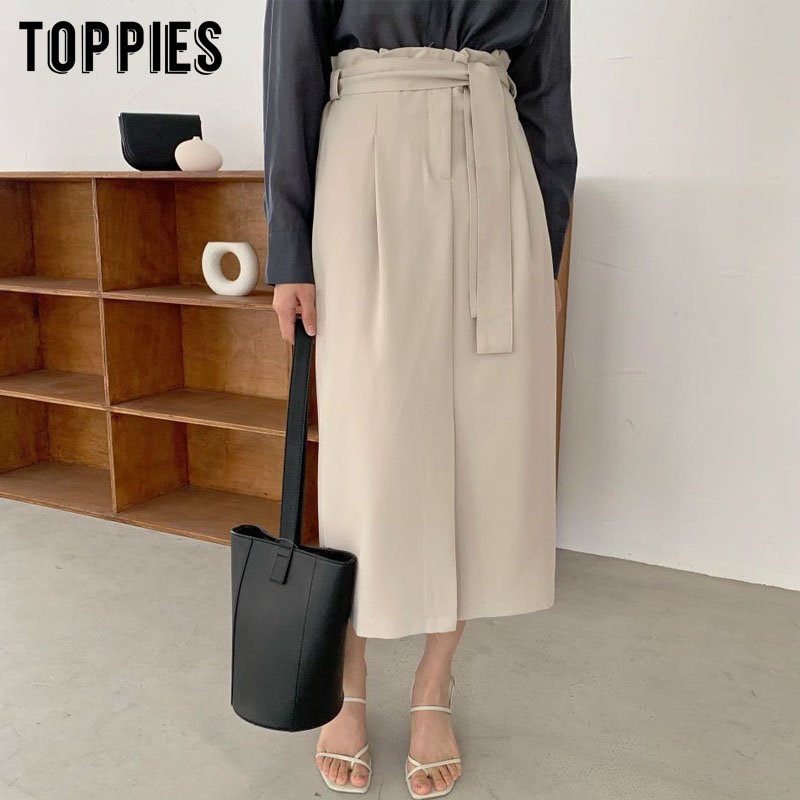 2020 Spring Summer Korean Midi Skirts Womens High Waist Straight Skirts Solid Color Lace-up Waist
