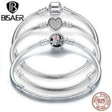Bracelet Silver Bangle Jewelry Snake-Chain Valentine Genuine Original Gift HJS902 BISAER