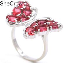 Gorgeous Butterfly Shape Pink Raspberry Rhodolite Garnet Ladies Party Silver Ring 22x12mm