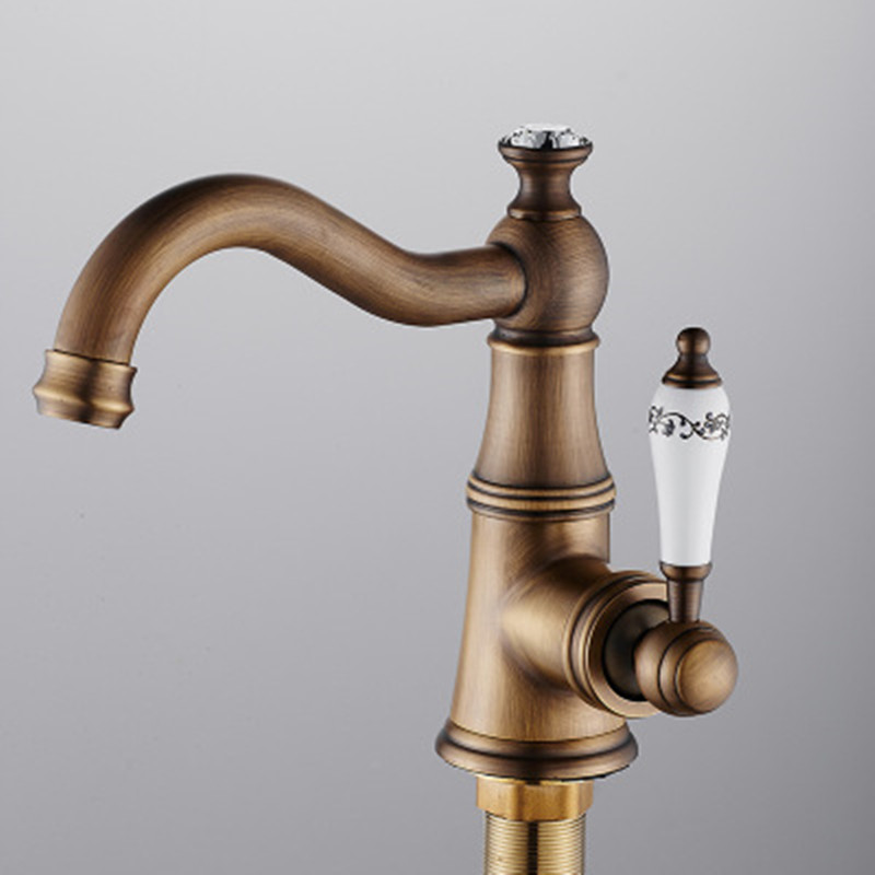 European ORB/Antique bathroom basin faucet single hole hot and cold water 360 degree rotating faucet