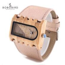 Bobo pássaro senhoras banda larga relógio retângulo de madeira bambu vestido feminino reloje mujer na caixa presente zegarek damski V N21