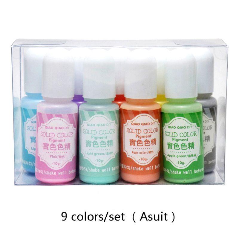 9 Pcs/set Solid Color Resin Dye Epoxy UV Coloring Pigment DIY Handmade Craft Art Set Jewelry Making Filler