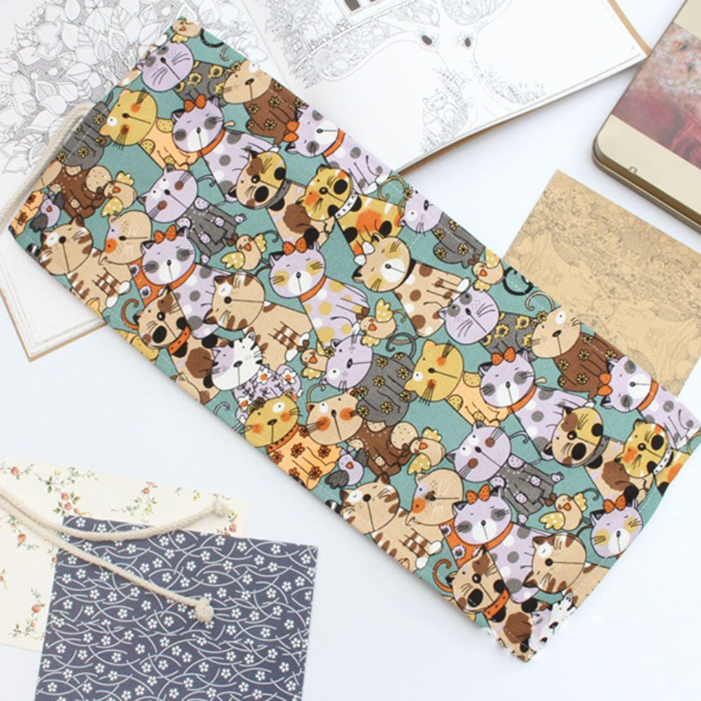 12/24/36/48/72 Holes Cartoon Curtain Pencil Bag Wrap Roll Up Students Canvas Pen Case Brushes Makeup Pouch