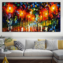 1 Pcs Rural Landscape Painting Oil Paint Canvas Art Lovers Walks In the Street Home Decor printed painting