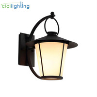Industrial Outdoor Wall Light Fixture Matter Black warm white wall Lantern white Glass Sconce for House Deck Patio Porch lights