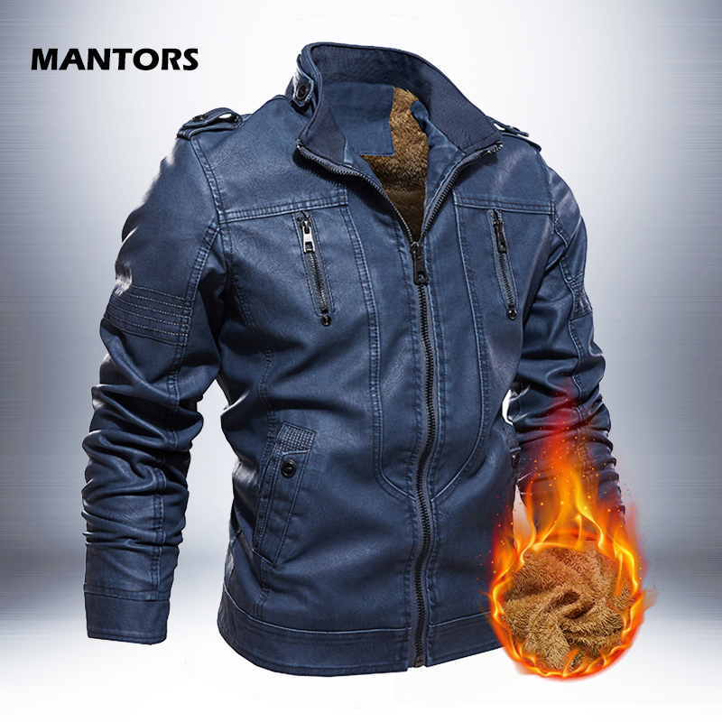 Leather Jackets Men 2019 Winter PU Jacket Coats Thick Fleece Warm  leather coat Brand Mens Clothes Street Vintage Jacket CostumeJackets