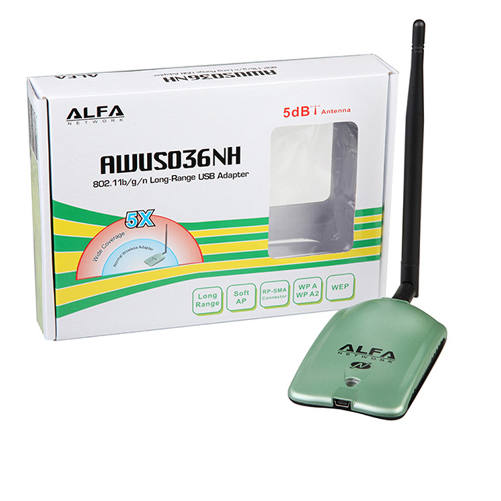 ALFA AWUS036NH Ralink 3070L Chipset 150Mbps Wireless USB Adapter 2000mW High Power Wireless Network Card WIth 5db Antenna