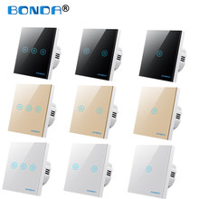 BONDA Wall Touch Switch EU/UK Standard 1 Way Wall Power Sensor Light Switch 4colors Crystal Glass Panel Led Backlight Smart Home
