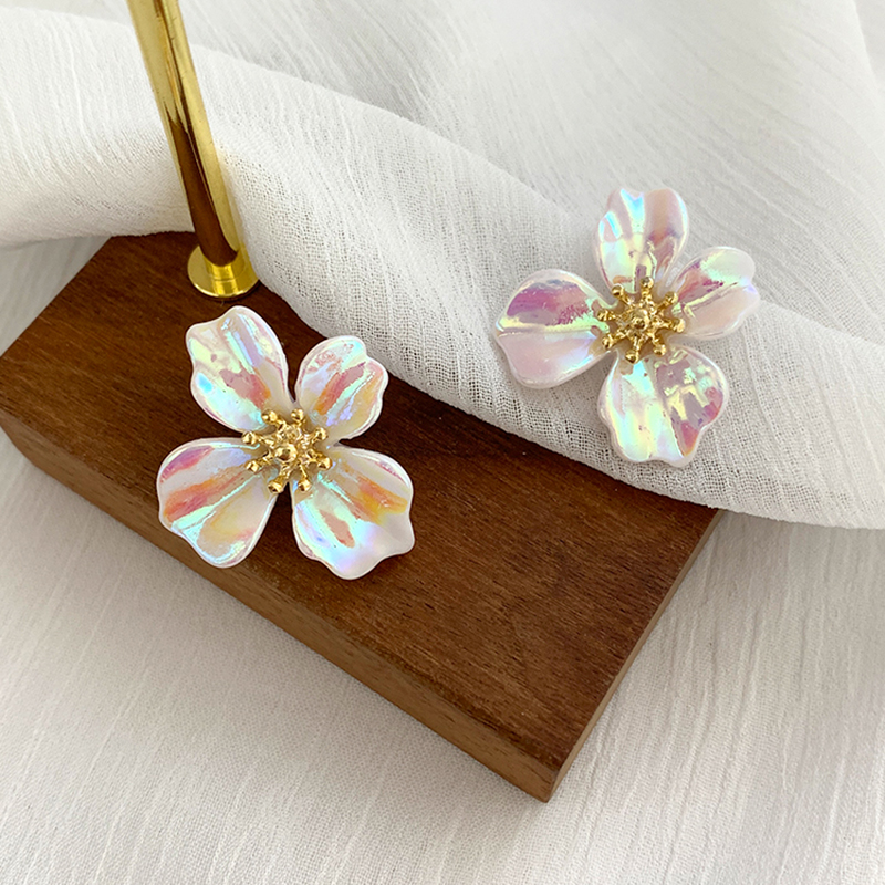 Japan and South Korea personality design colorful flower earrings 2020 new high-level sense earrings exquisite fashion earrings(China)