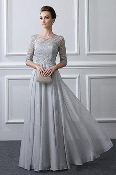 Koronkowa aplikacja Sliver pół rękawy matka sukienki dla mamy 2020 linia wesele imprezowy gość matka suknia wieczorowa sukienka z szyfonu tanie i dobre opinie BONJEAN Długość podłogi -Line Połowa CN (pochodzenie) Aplikacje Draped Haft Koronki MD088 Matka panny młodej suknie