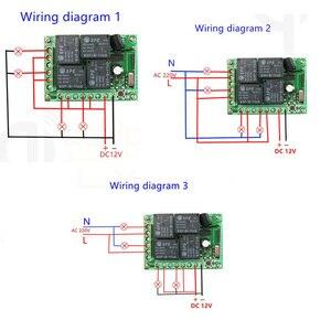 Image 3 - 433MHz שלט רחוק אוניברסלי ממסר 12V 4CH ממסר מקלט מודול RF 4 לחצן שלט רחוק מוסך דלת אור מתג