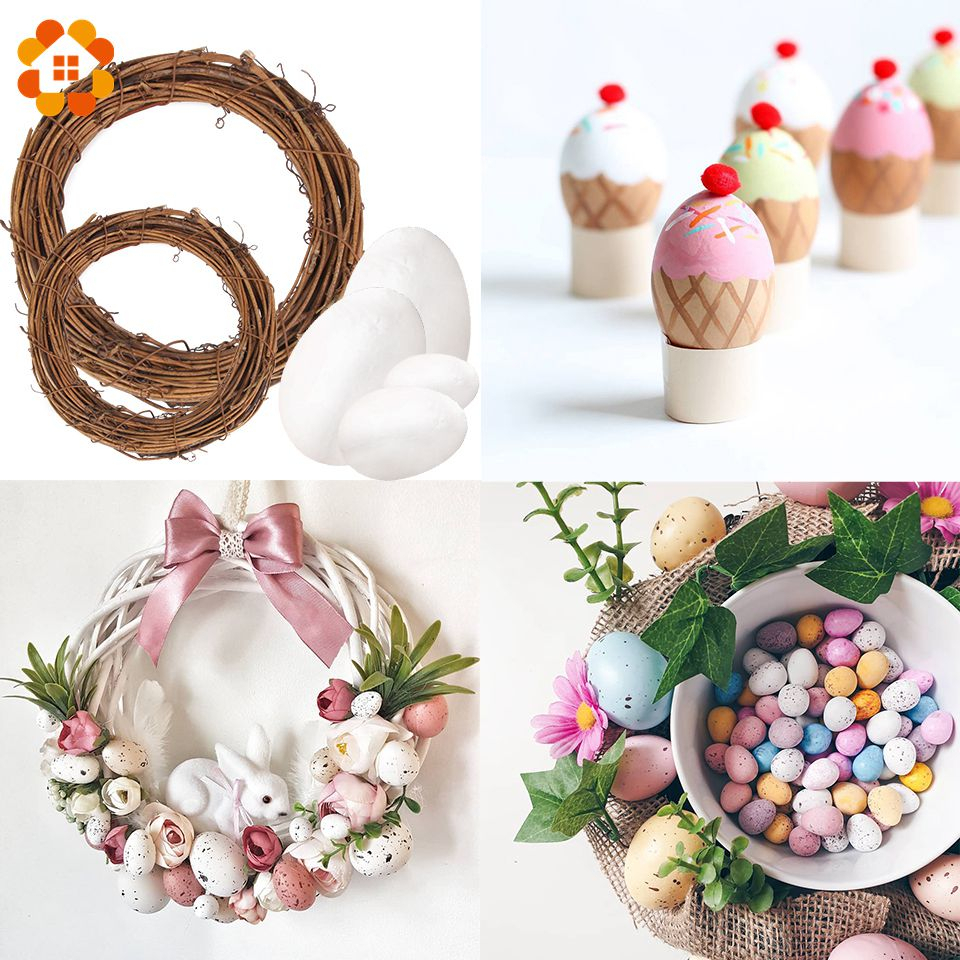 50Pcs Happy Easter Eggs Styrofoam Foam Ball DIY Home Decorations Easter Party Decoration Gift Decoration Garland Rattan Supplies