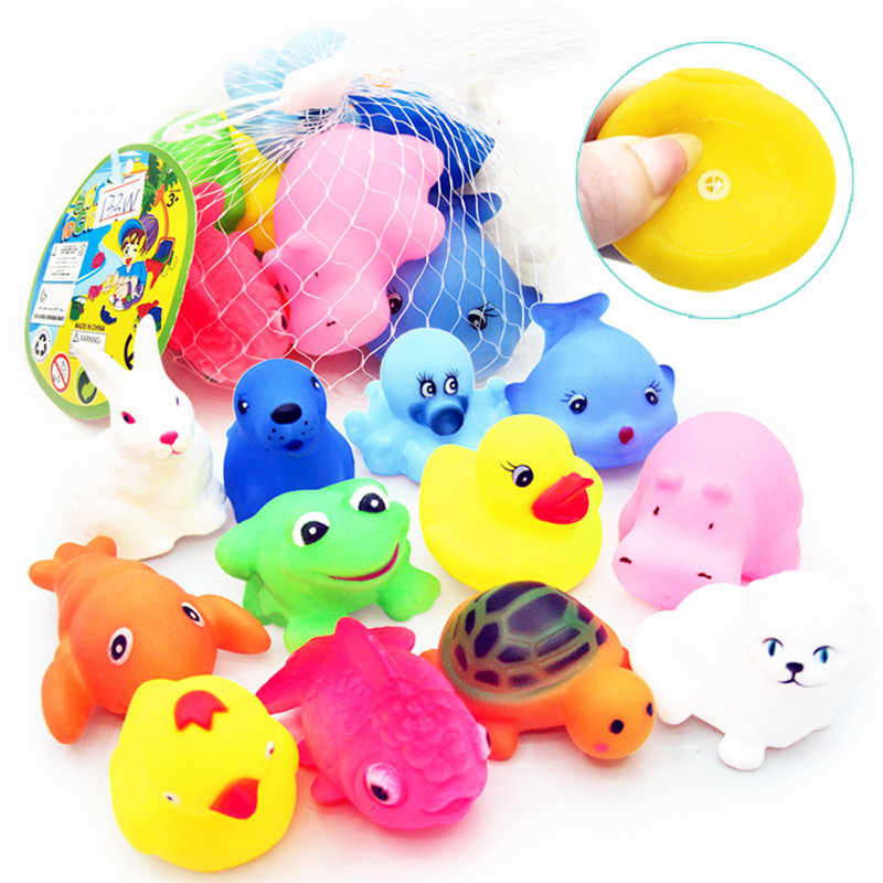 12Pcs Baby Mixed Animals Swimming Water Bath Toys Soft Colorful Rubber Duck Swimming Squeeze Sound Bathing Toy Kids Children