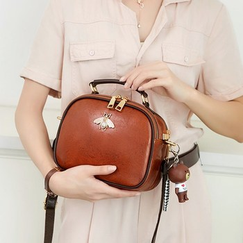 Women Bags Genuine Leather Shoulder Bag Crossbody Famous Brand Tote Handbag Cute Small Fashion Shopping Bag with Bear Pendant genuine leather handbag female bag shoulder women famous brand cross body bag woman messenger bag bucket large tote shopping bag