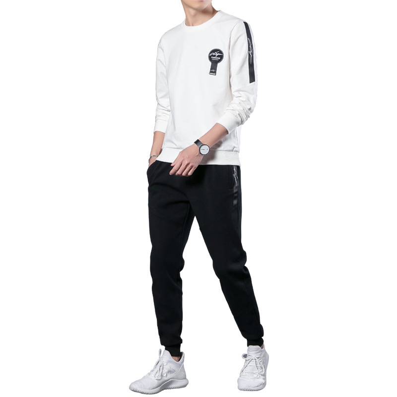 MEN'S Casual Suit 2018 Spring And Autumn New Style Youth Korean-style Crew Neck Pullover Long-sleeved Sweater Sports Clothing Tr