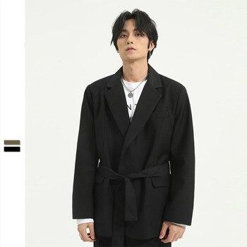 Men Lace-up Belt Casual Suit Blazer Coat Male Korea Japan Streetstyle Vintage Fashion Loose Suit Jacket Overcoat