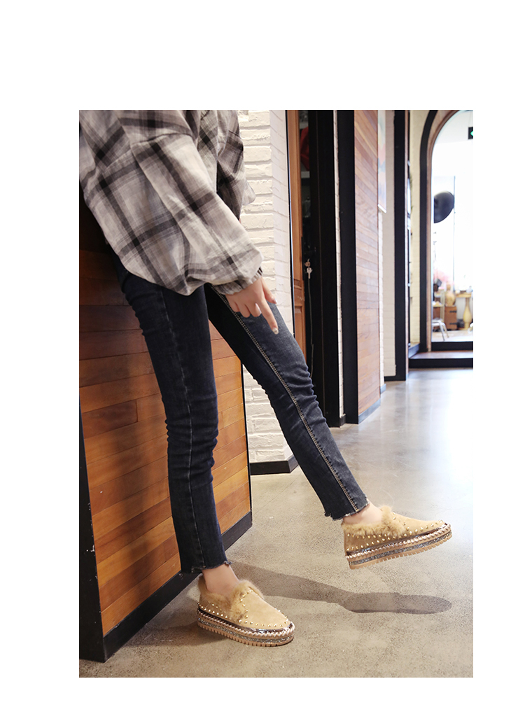 2019 Winter New Women Fur Loafers Comfortable Casual Platform Sneakers 68