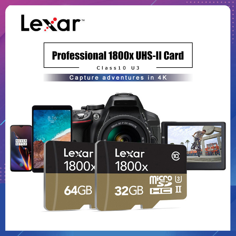 Lexar Professional 1800x MicroSDXC UHS-II Cards Micro SD Card 64GB 128GB Up To 270MB/s V90 U3 Class 10 Memory Card Flash TF Card