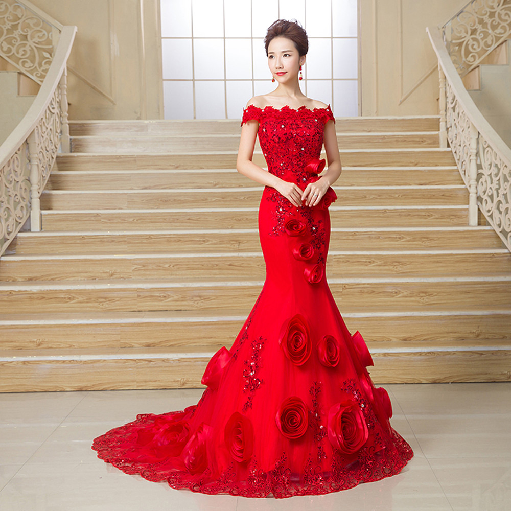 Red Bridal Dress Off Shoulder Slim Fit Mermaid Long Tail Lace Wedding Dress