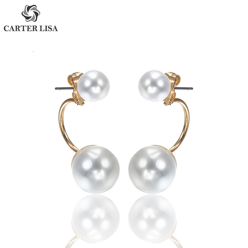 CARTER LISA Hot Sale Silver Plated Double Side Simulated Pearl Stud Earing For Women Fashion Jewelry Crystal Ball Gift Brincos