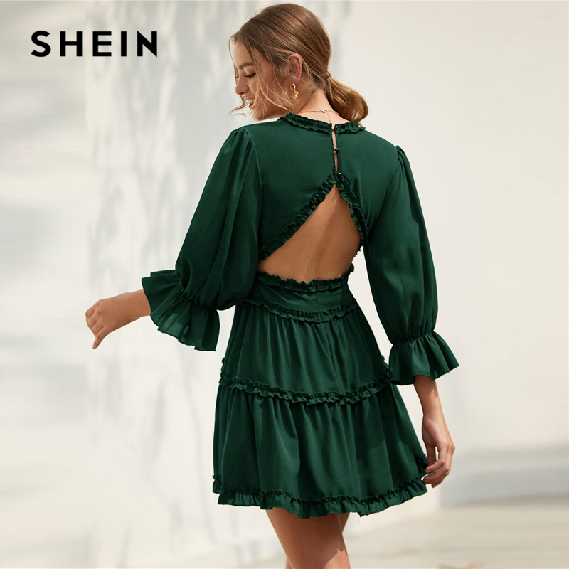 SHEIN Solid Deep V Neck Frill Trim Sexy Flared Dress Women Spring Flounce Sleeve Open Back High Waist A Line Short Dresses 2