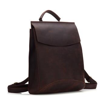 Luxury Handmade Crazy Horse Leather Backpack Vintage Brown