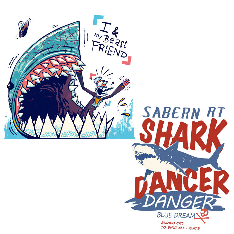 Heat Transfer Large-size Cute Patches For DIY T-shirt Jacket Clothing Accessories Boy Girl DIY Shark Pattern Patches