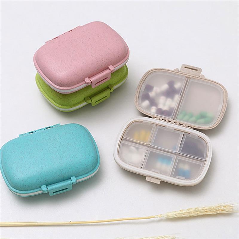 8 grades organizador recipiente para comprimidos caixa de pílula de viagem com anel de vedação pequena caixa para comprimidos recipiente de palha de trigo para medicamentos|Organizadores de remédios|   -