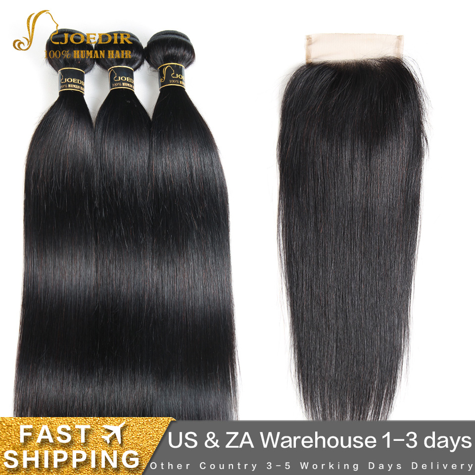 Joedir Straight Hair Bundles With Closure Brazilian Non Remy Human Hair Weave Bundles With Closure Human Hair With Closure