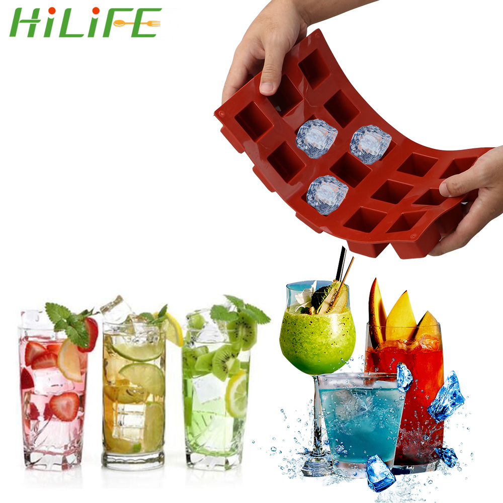 HILIFE Kitchen dining and bar supplies 15 Grids Square Silicone Soap Molds Handmade Soap For DIY Soap Making Chocolate Cake Mold