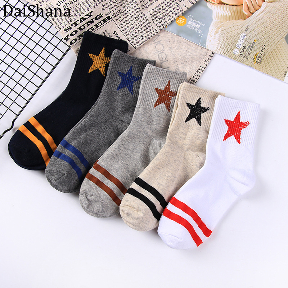DaiShana Happy Socks Men Harajuku New Fashion Men Socks Cotton Striped Stars Colorful Casual Korean Lady Socks Men Hot Selling