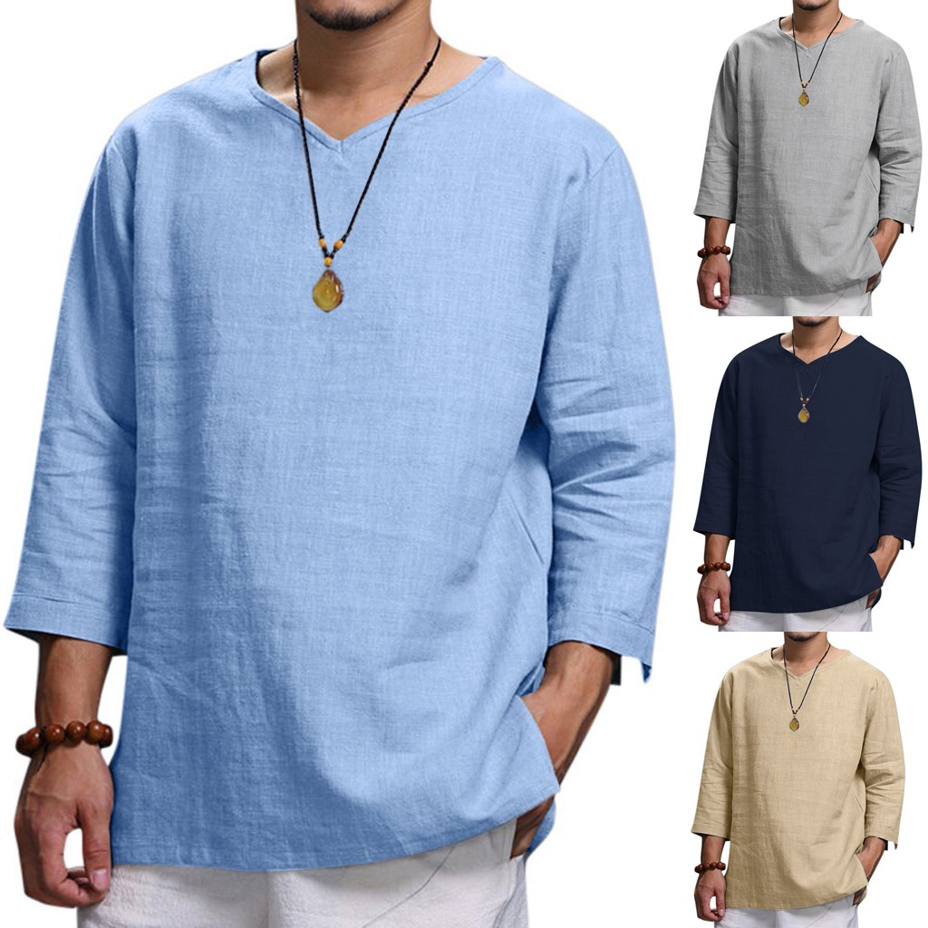 Men Cotton Linen Shirts Autumn Casual V Neck Solid Shirts Top Male Loose Casual Leisure Shirt Blouses Joggers Breathable Camisa