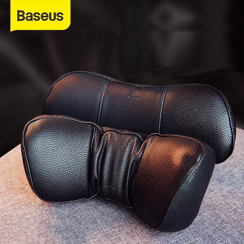 Baseus Car Neck Pillow Headrest Pillows PU Leather + Memory Cotton Auto Neck Rest Cushion Pad Travel Neck Headrest Accessories