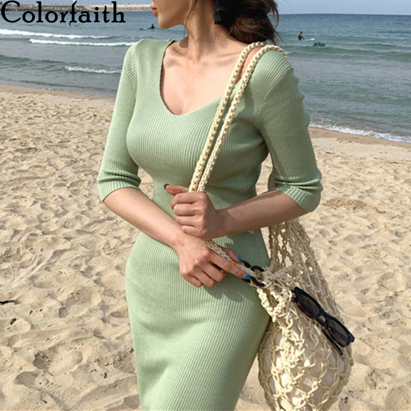 Colorfaith New 2020 Summer Autumn Women Dresses V-neck Knitting High Waist Bottoming Elasticity Vintage Sexy Long Dress DR3256