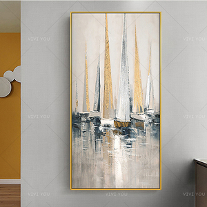 Hand Painted Abstract Oil Painting Smooth Sailing Home Decor Handmade Paintings Modern Gold Leaf Luxury Picture High Quality(China)