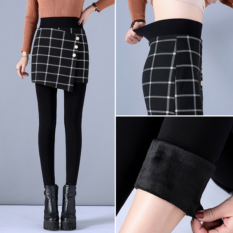 2019 Autumn Winter New Korean Thick Skinny Leggings Fake Two-piece Plaid Pants Skirt Women High Waist Pencil Pants Clothes
