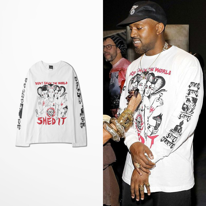Kanye West Pablo Long Sleeve T Shirt Men Dark Souls Skateboard Retro Funny T Shirts Shedit Print Streetwear Tee Shirt Homme