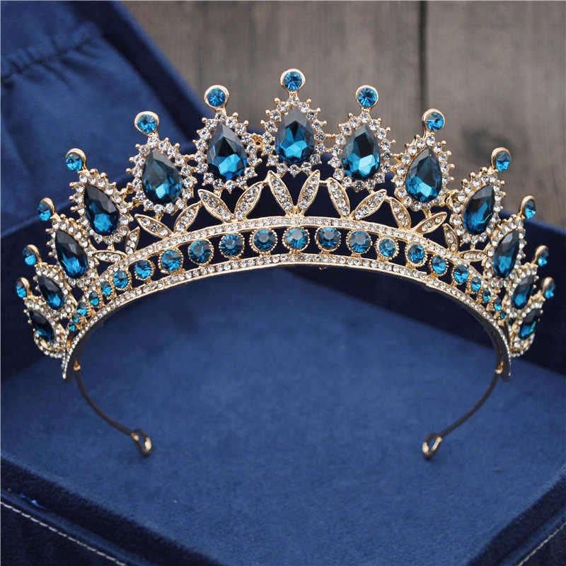 Baroque Vintage Blue Crystal Bride Crown Women Headdress Bridal Tiaras and Crowns Wedding Hair Jewelry Accessories Crown Fashion