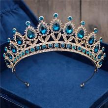 Corona barroca Vintage de cristal azul para novia, tiaras de novia para tocado para mujer y coronas, accesorios de joyas para el pelo, corona a la moda
