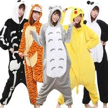 Kigurumi Onesie Adult Women Winter Animal Pajamas Suit Flannel Warm Soft Sleepwear Onepiece Jumpsuit Pijama Cosplay