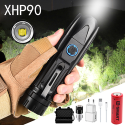 16000LM XHP90 Super bright LED flashlight usb rechargeable Tactical zoom high power waterproof Torch With bottom attack cone